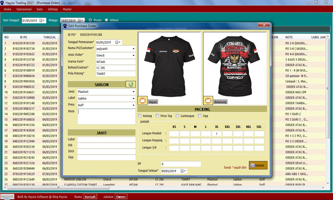 Software Usaha Sablon